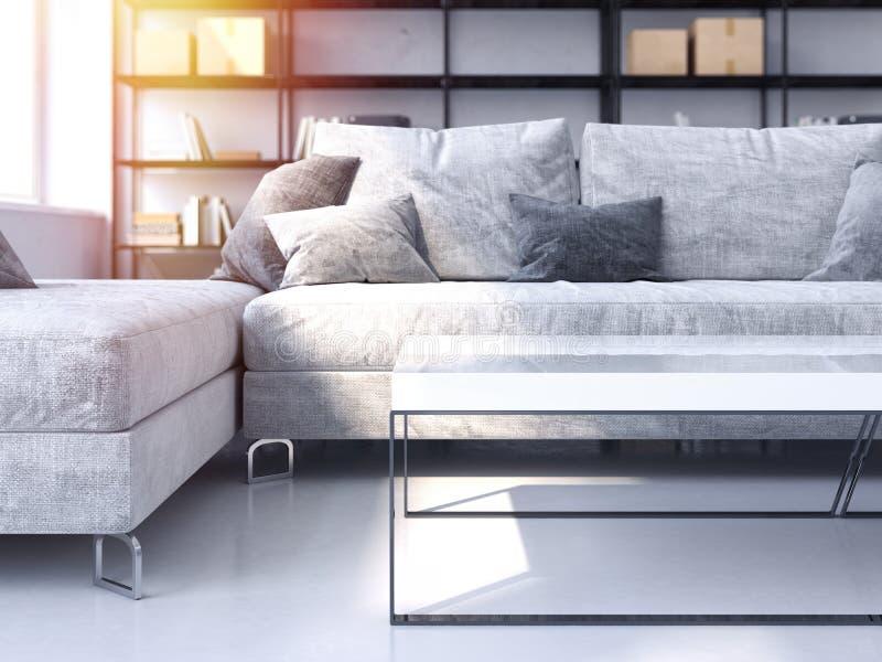 Modernes Wohnzimmer mit gemütlichem Sofa Wiedergabe 3d lizenzfreie stockfotografie