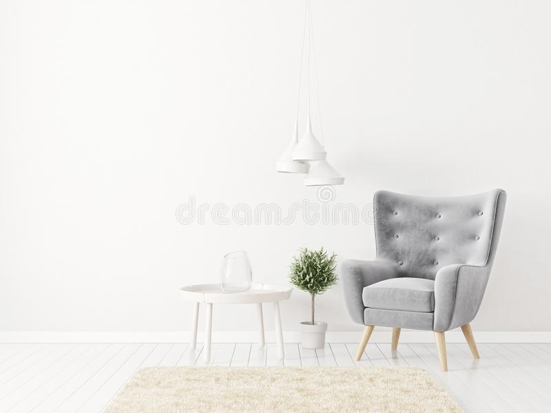 Modernes Wohnzimmer mit grauem Lehnsessel und Lampe skandinavische Innenarchitekturmöbel lizenzfreie abbildung