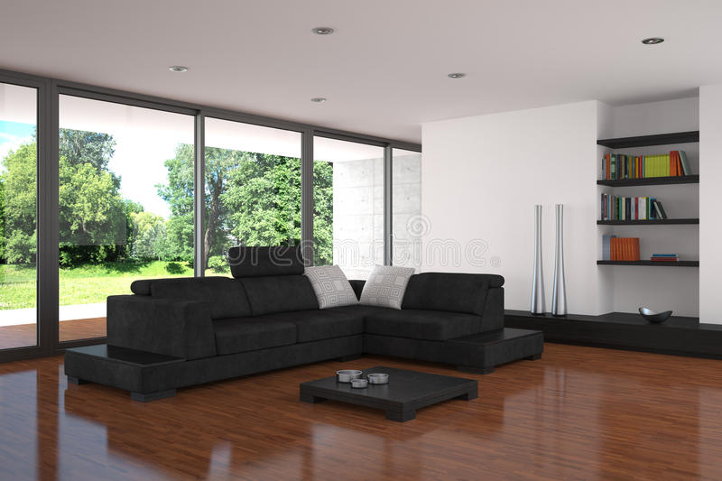 Modernes Wohnzimmer mit Parkettfußboden stockfotos