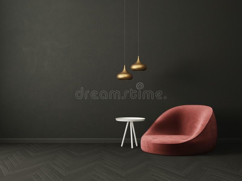 Modernes Wohnzimmer mit rotem Lehnsessel und Lampe skandinavische Innenarchitekturmöbel stock abbildung