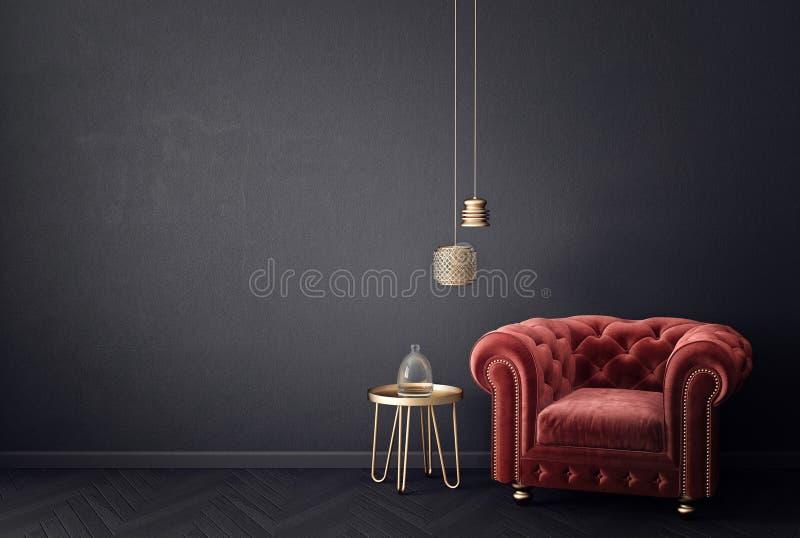 Modernes Wohnzimmer mit rotem Lehnsessel und Lampe skandinavische Innenarchitekturmöbel lizenzfreie abbildung