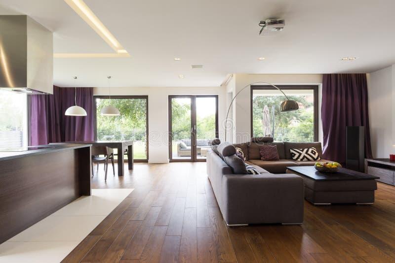 Modernes Wohnzimmer mit Sofa lizenzfreie stockfotos