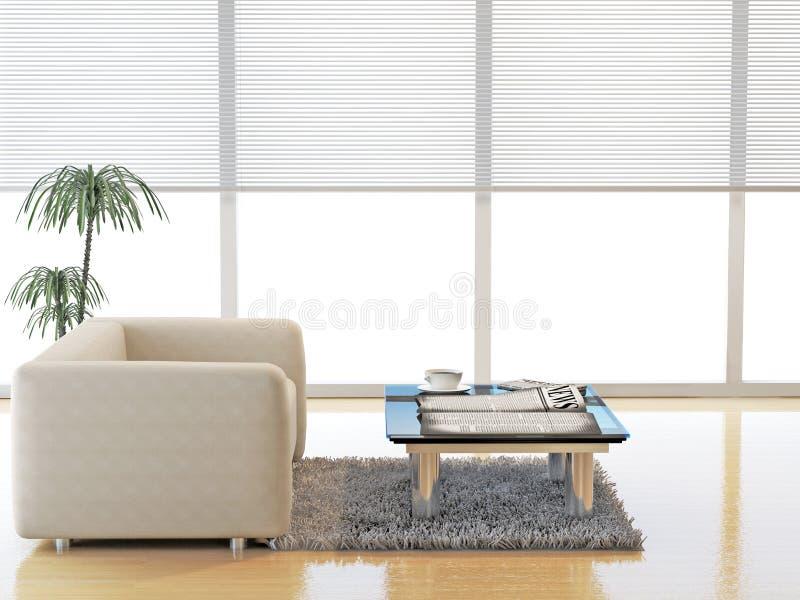 Modernes Wohnzimmer mit Sofa des weißen Leders lizenzfreie abbildung