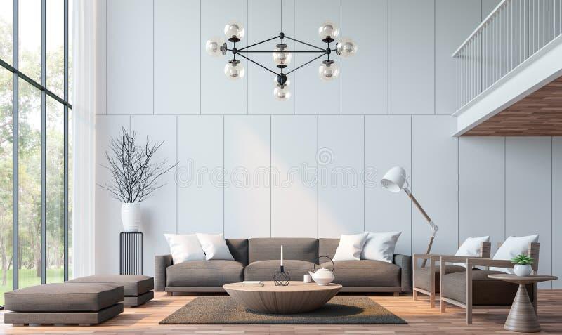 Modernes Wohnzimmer mit Wiedergabebild des Mezzanins 3d lizenzfreie abbildung