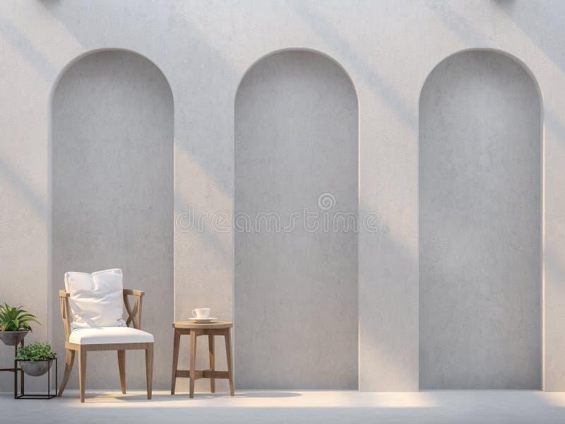 Modernes Wohnzimmer und leere Wände mit Bogenplatte und -sonnenlicht vektor abbildung