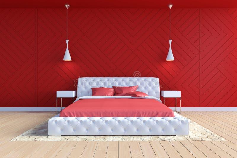 Modernes zeitgenössisches Schlafzimmer Innen in der roten und weißen Farbe lizenzfreie abbildung