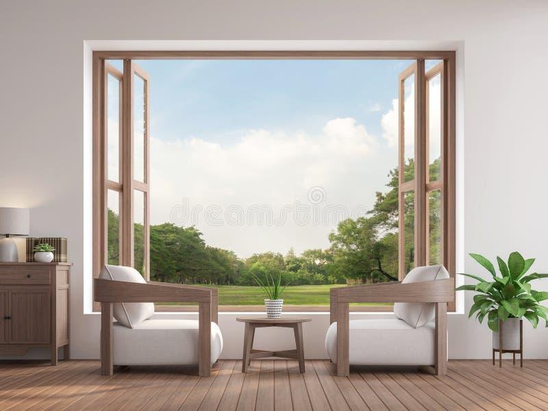 Modernes zeitgenössisches Wohnzimmer 3d übertragen, dort sind das große offene Fenster, das zur Gartenansicht übersieht lizenzfreie abbildung
