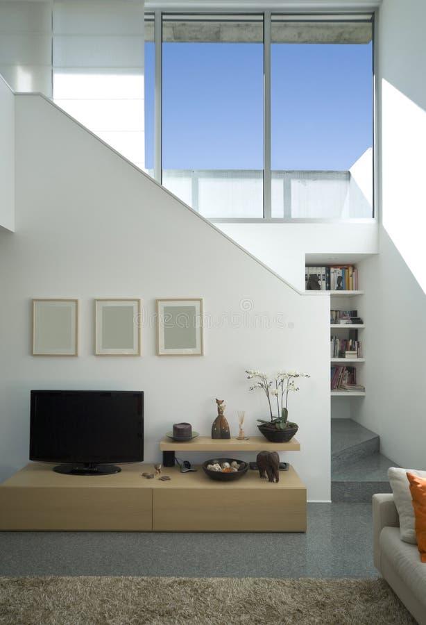 Modernes Ziegelsteininnenhaus stockbilder