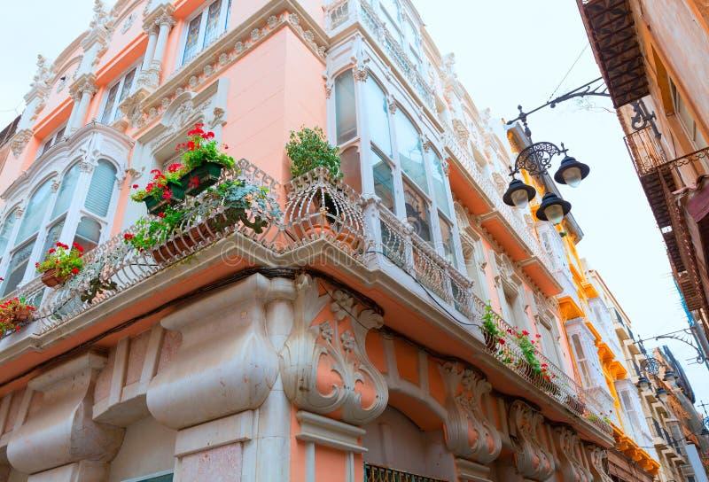 Modernist gebouwen van Cartagena in Murcia Spanje royalty-vrije stock afbeelding