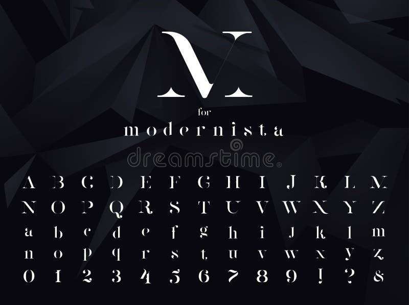 Modernista Fuente minimalistic ultra moderna, tipografía fotos de archivo libres de regalías