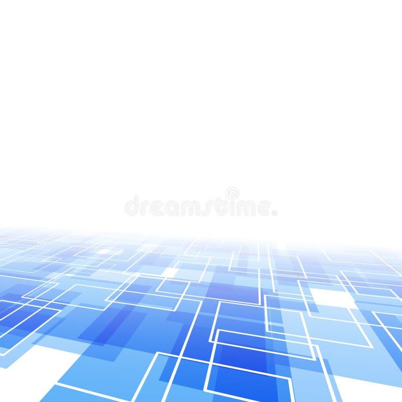 Modernistic blauer Fliesenperspektivenhintergrund vektor abbildung