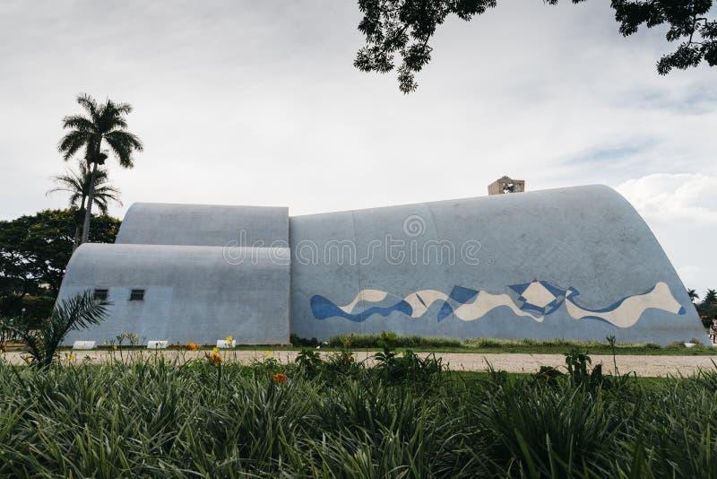 Modernistyczny kościół Sao Francisco De Assis w Belo Horizonte, Brazylia obrazy stock