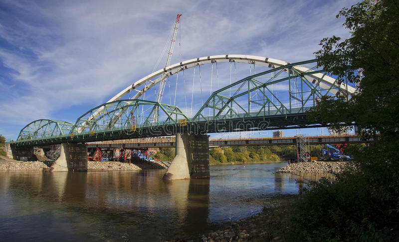 Modernization of the old bridge in Edmonton - Canada. Modernization of the old bridge in Edmonton (Canada, Alberta stock photography