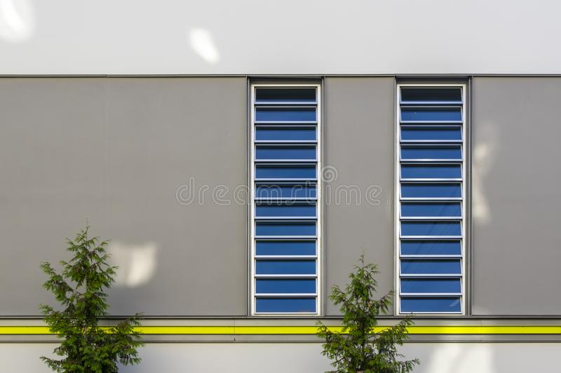 Modernized facade of a sports and gym with vertical bands of light and a yellow border and visually contrasted area in gray and. Conifer in the foreground in stock photos