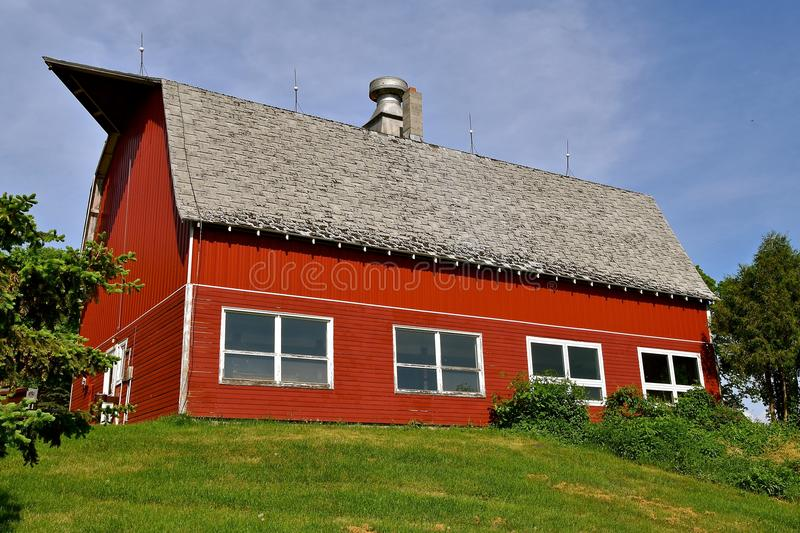 Modernized old red dairy barn royalty free stock image