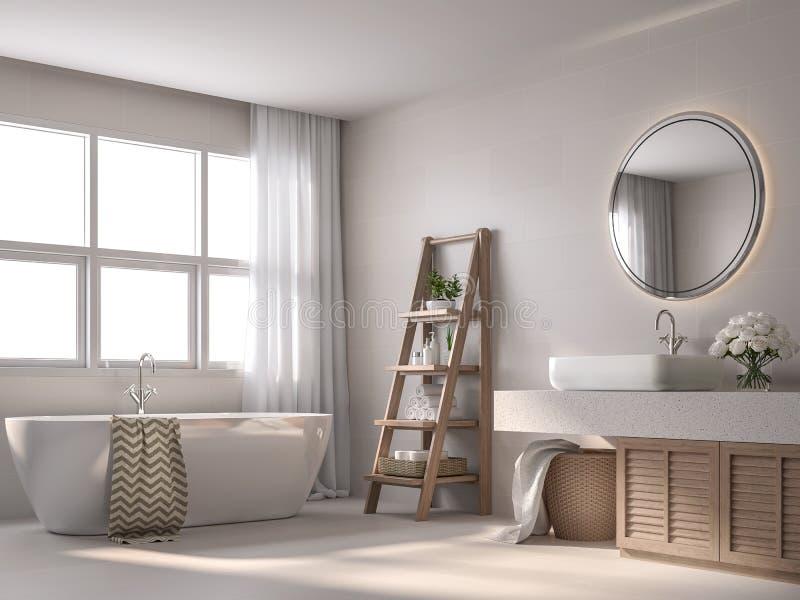 Moderno bagno in stile contemporaneo con 3d di piastrelle beige illustrazione di stock