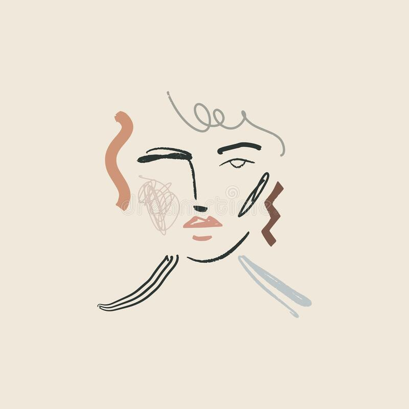 Moderno Boho Pastel Terracotta Collage Line Desenhando Mulher Cara Cabeça Feira Bela Minimalista Ilustração Vetor Moderna ilustração royalty free