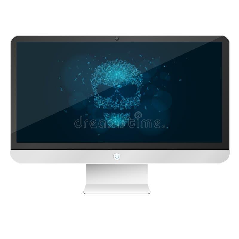 Moderno, computador da alto-tecnologia isolado no fundo branco Um crânio azul de incandescência da programação etiqueta Os hacker ilustração stock