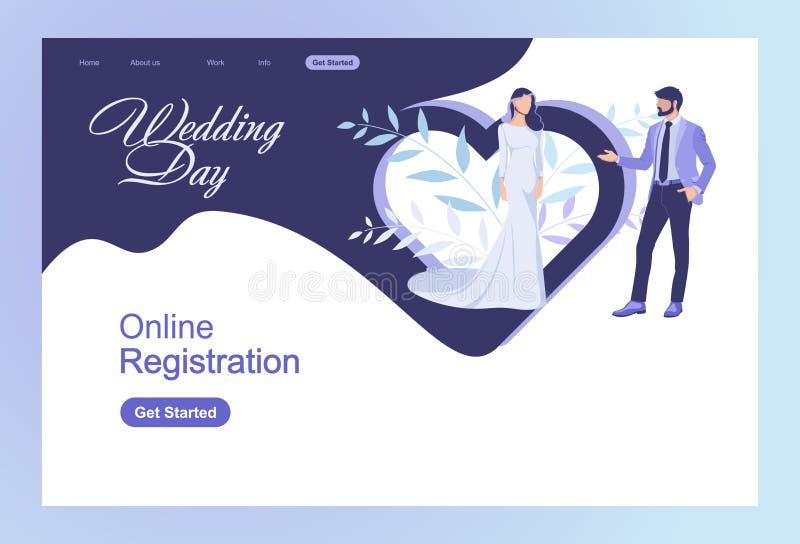 Moderno concepto de diseño plano banners web Agencia de matrimonio. website. Ejemplo plano del vector del arte stock de ilustración