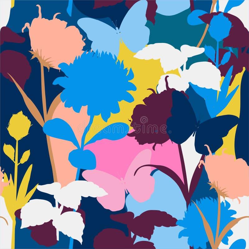 Moderno d'avanguardia e variopinto e siluetta del modello senza cuciture delle piante floreali e botaniche del protea nello stile illustrazione vettoriale