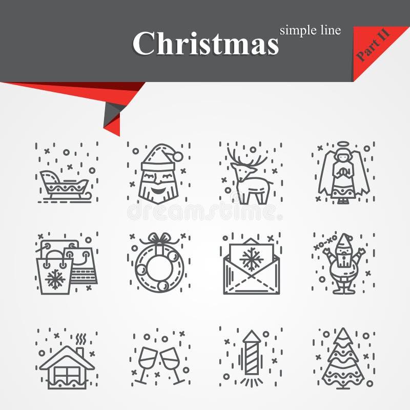 Moderno da linha fina ícones ajuste para o feriado ilustração stock