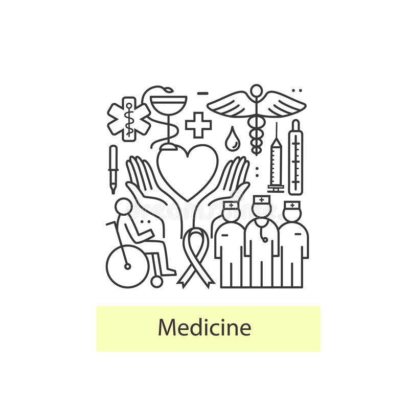 Moderno de concepto linear fino en una medicina del tema y símbolos de la salud libre illustration