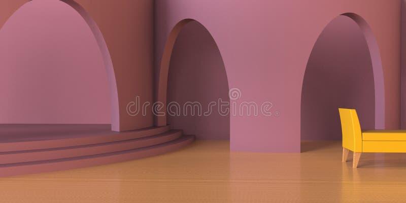 Moderno de viver a área luxuosa e o rosa contemporâneos do roxo monocromáticos/arco arquitetónico ilustração stock