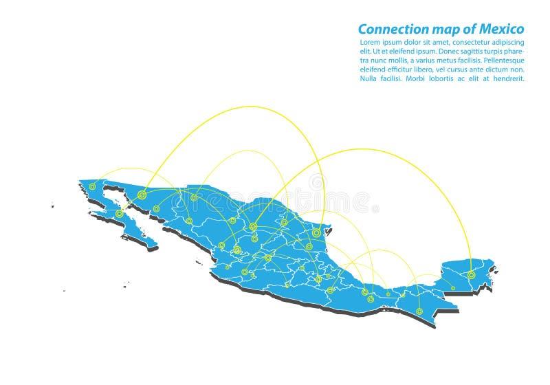 Moderno del diseño de red de las conexiones del mapa de México, el mejor concepto de Internet de negocio del mapa de México de la stock de ilustración