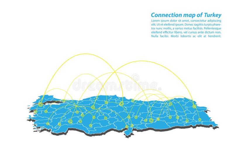 Moderno del diseño de red de las conexiones del mapa del pavo, el mejor concepto de Internet de negocio del mapa del pavo de la s stock de ilustración