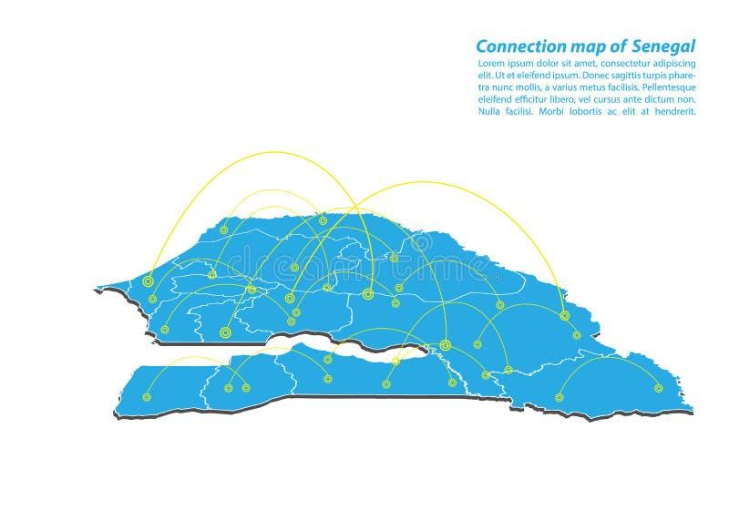 Moderno del diseño de red de las conexiones del mapa de Senegal, el mejor concepto de Internet de negocio del mapa de Senegal de  stock de ilustración