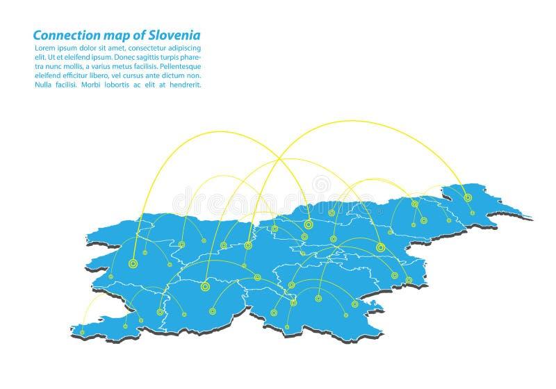 Moderno do projeto de rede das conexões do mapa de slovenia, o melhor conceito do Internet do negócio do mapa de slovenia da séri ilustração stock