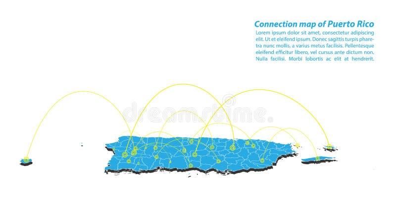 Moderno do projeto de rede das conexões de Puerto Rico Map, o melhor conceito do Internet do negócio do mapa de Porto Rico da sér ilustração do vetor