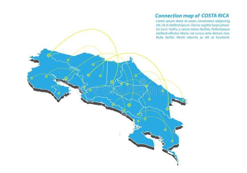 Moderno do projeto de rede das conexões de Rica Map da costela, o melhor conceito do Internet do negócio do mapa de Costa-Rica da ilustração do vetor