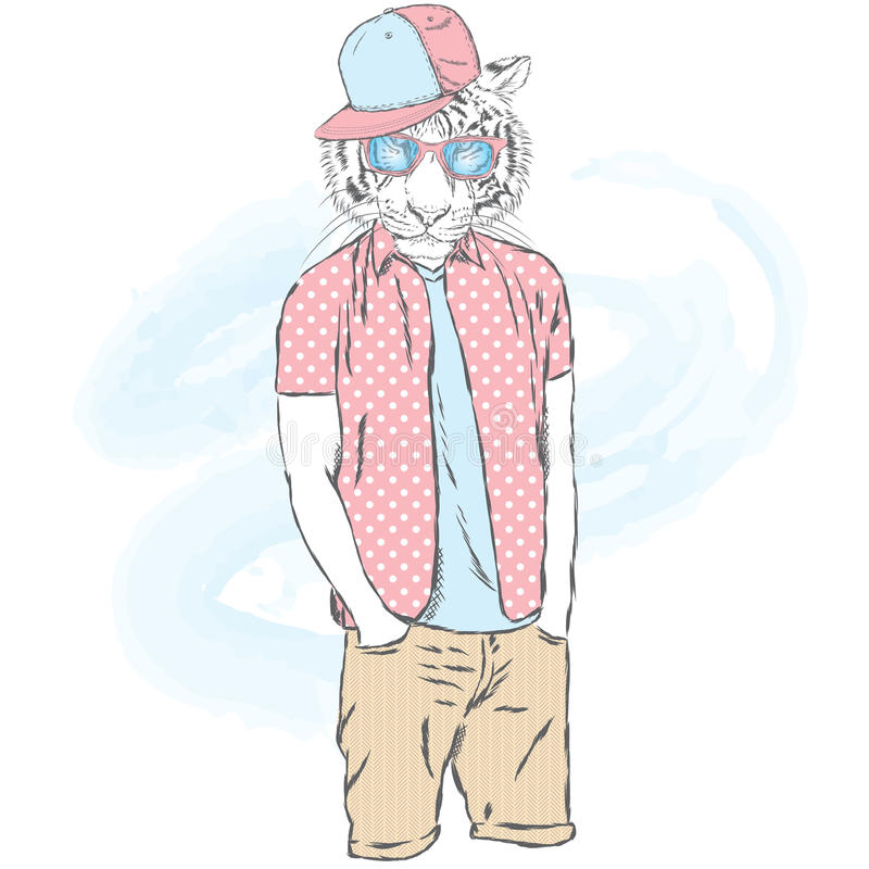 Moderno do tigre na roupa do verão Forma & estilo Vector a ilustração para o cartão, o cartaz, ou a cópia na roupa e no accessor ilustração do vetor