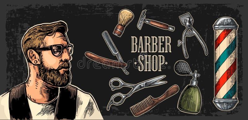 Moderno e equipamento principais para o barbeiro ilustração royalty free