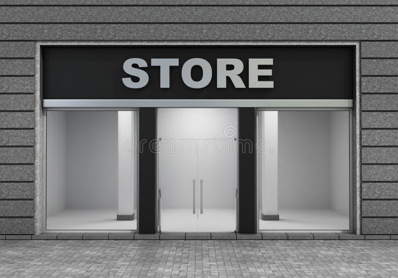 Moderno esvazie a parte dianteira da loja ilustração do vetor