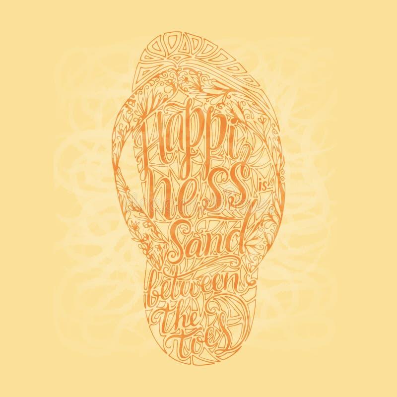 Moderno Flip Flop tirado mão com inscrição Rotulando citações sobre o verão e a areia ilustração stock
