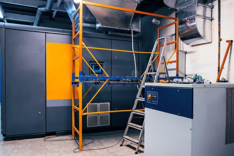 moderno, industriale, commerciale, compressore d'aria, installazione, ingegneria, moderna fotografie stock libere da diritti
