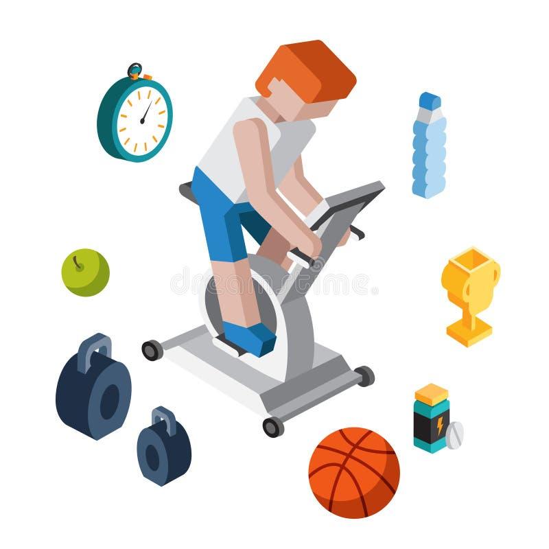 Moderno isometrico piano 3d di allenamento di esercizio di sport illustrazione vettoriale