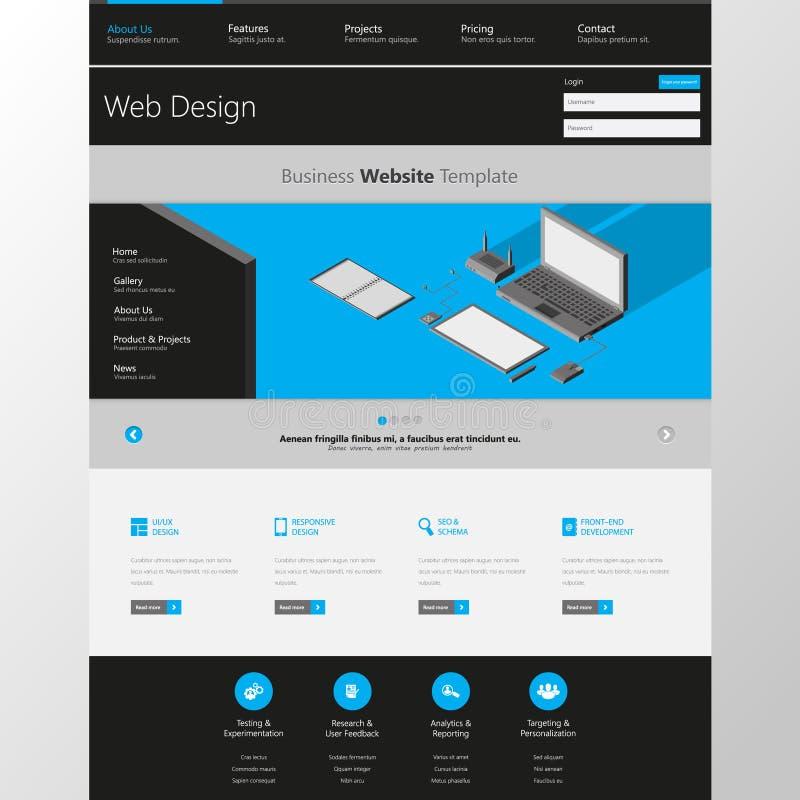 Moderno limpie una plantilla del diseño del sitio web de la página Todos en un sistema para el diseño del sitio web que incluye u stock de ilustración