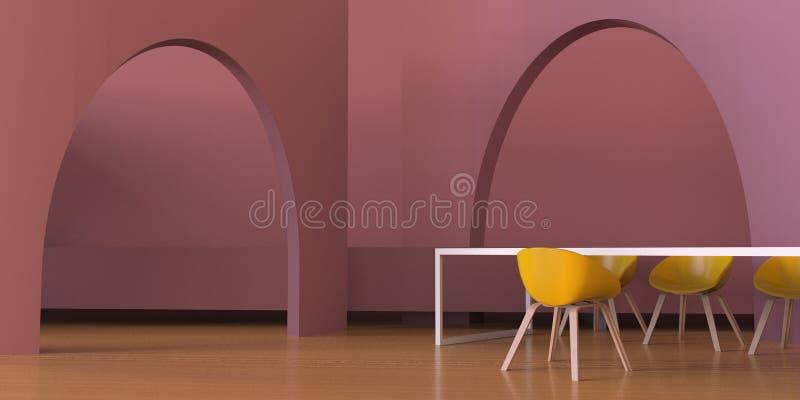 Moderno luxuoso de viver a área contemporânea e o rosa do roxo monocromáticos no assoalho de madeira ilustração do vetor