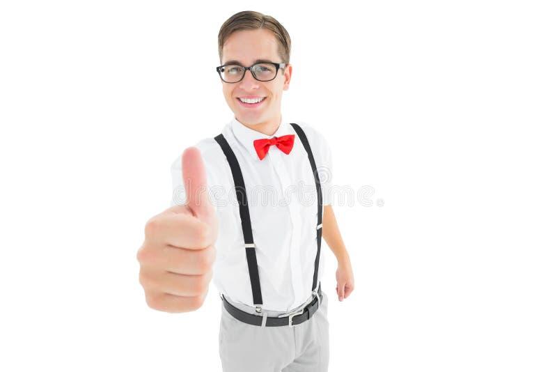 Moderno novo Geeky que mostra os polegares acima fotografia de stock