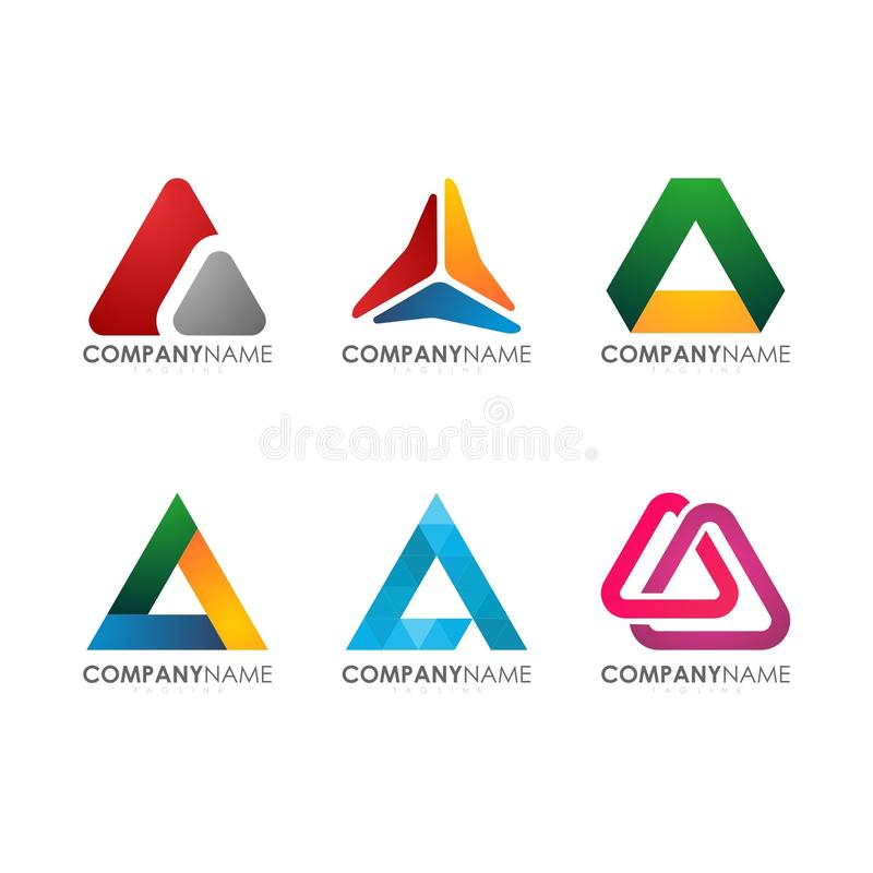Moderno per il triangolo variopinto Logo Set di tecnologia industriale della costruzione della società illustrazione vettoriale