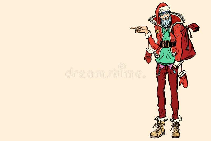 Moderno Santa Claus que aponta lateralmente ilustração do vetor