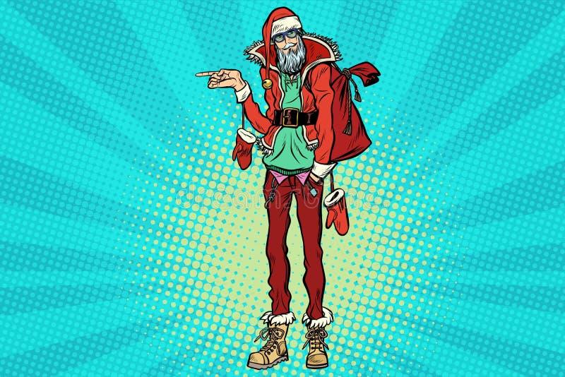 Moderno Santa Claus que aponta lateralmente ilustração stock