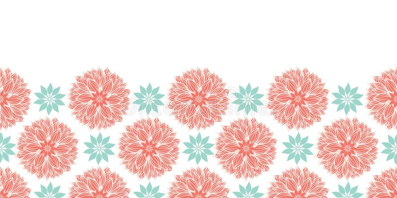 Moderno stilizzato waterlily o progettazione orizzontale del confine delle mandale dei fiori della dalia in pesca ed in blu Model fotografia stock