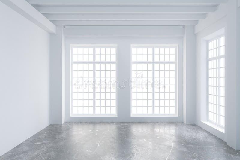 Moderno svuoti la stanza del sottotetto con le grandi finestre ed il pavimento di calcestruzzo illustrazione di stock