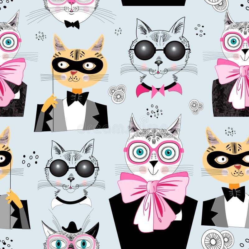 Modernos dos gatos do teste padrão ilustração royalty free