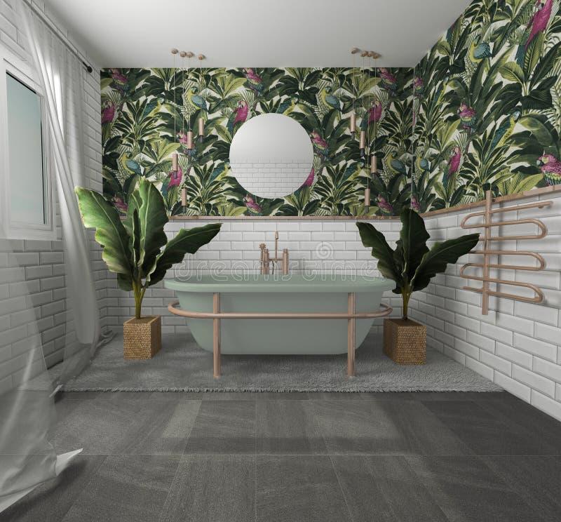 modernos interiores rinden el cuarto de baño de la palma fotos de archivo