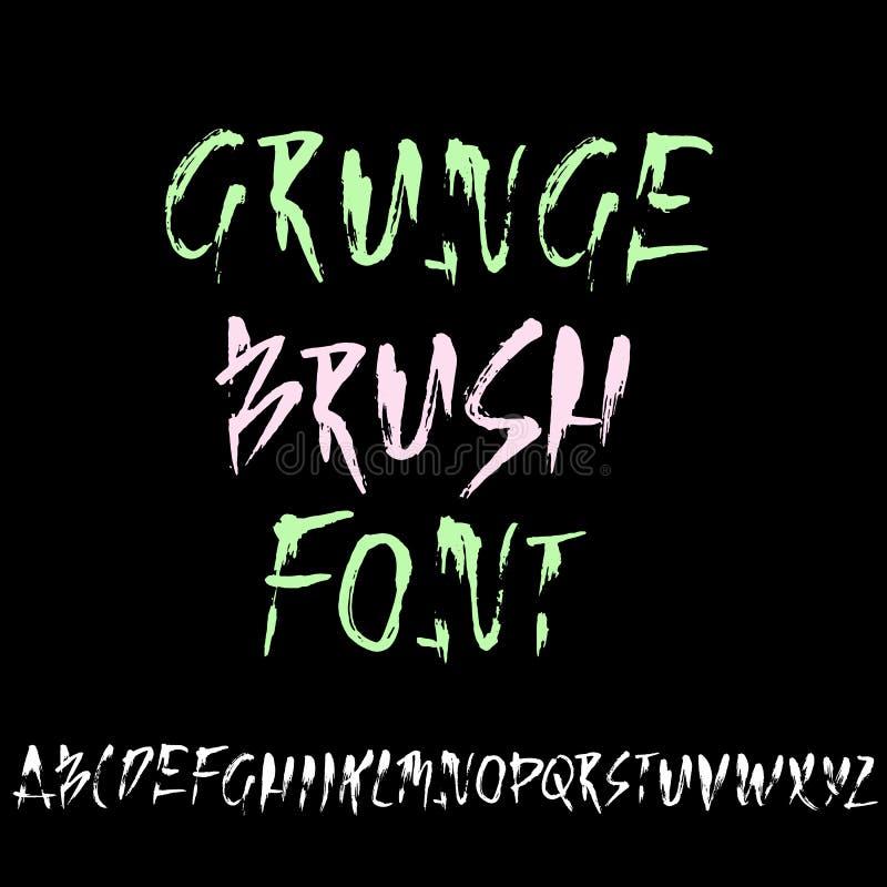 Modernos tirados mão secam a rotulação da escova Alfabeto do estilo do Grunge Fonte escrita à mão Ilustração do vetor ilustração royalty free